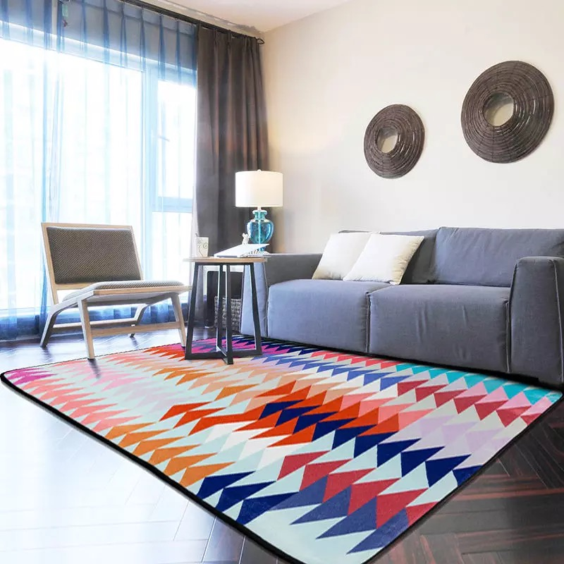 blue and grey rug 100150cm modern geometric alfombra for